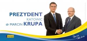 Na wyborczym billboardzie Marcina Krupę wspiera Piotr Uszok