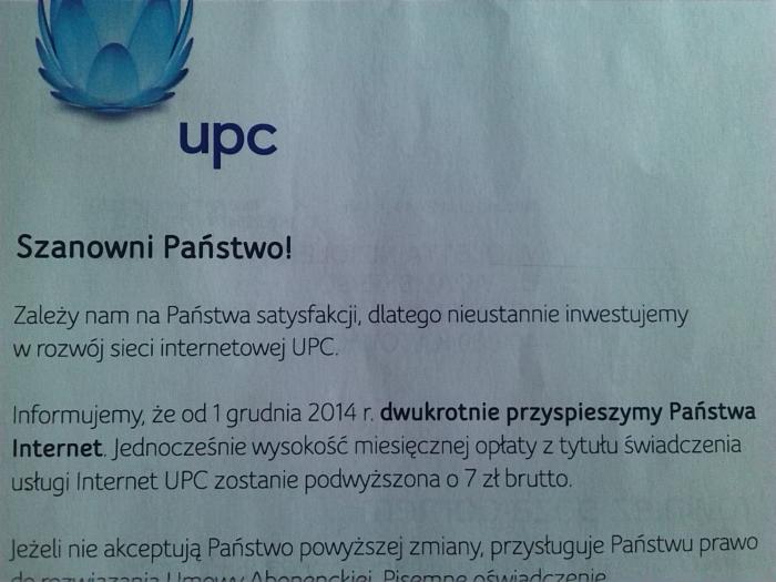 UPC przysyła swoim klientom takie listy