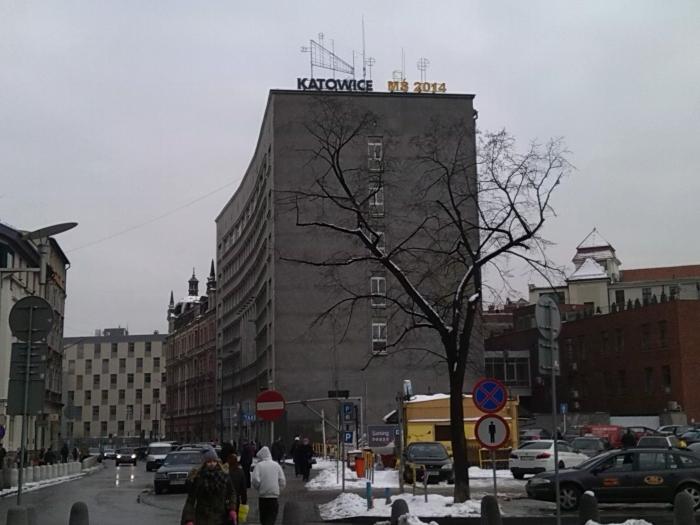Siatkarski neon na urzędzie miasta