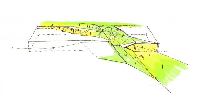 Zielona dolina na dachu MCK. Rys. JEMS Architekci