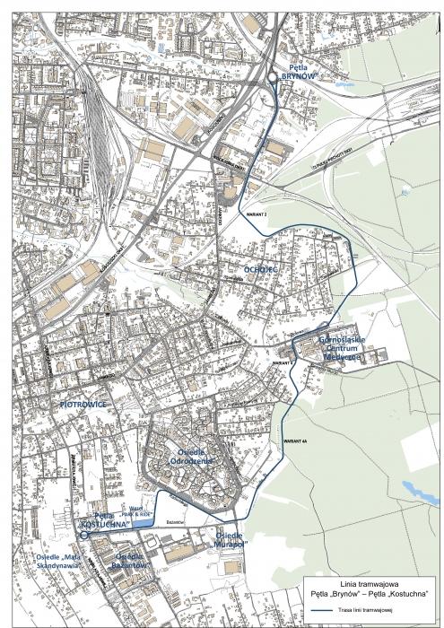 Tak ma przebiegać nowa linia tramwajowa na południe Katowic.