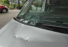 Uszkodzony radiozów straży miejskiej.