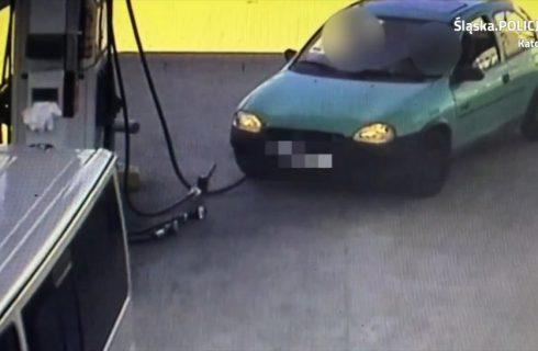 Pijany 23-latek uderzył w dystrybutor na stacji paliw i został zatrzymany [WIDEO]